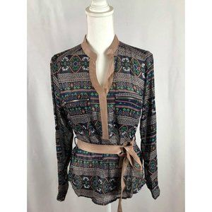 Women's Pull-On Blouse Printed top With Belt NEW